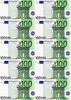 """Картинка вафельная А4 """"100 евро"""" 10 шт., фото 1"""