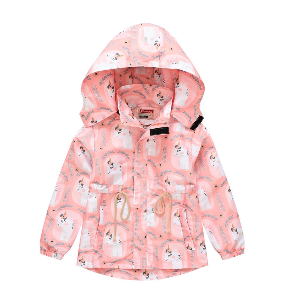 Куртка-вітровка для дівчинки з кишенями, знімним капюшоном і принтом єдинорога рожева White unicorn Jomake