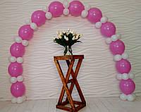 Арка з повітряних кульок (біло-рожева) для прикраси дня народження дівчинки, фото 1