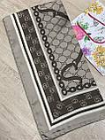 Турецкий брендовый платок Gucci цвет кофе с молоком 90х90 см (цв.1), фото 2