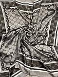 Турецкий брендовый платок Gucci цвет кофе с молоком 90х90 см (цв.1), фото 3