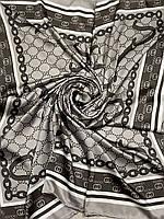 Турецкий брендовый платок Gucci цвет кофе с молоком 90х90 см (цв.1) - купить на Kosinka.net