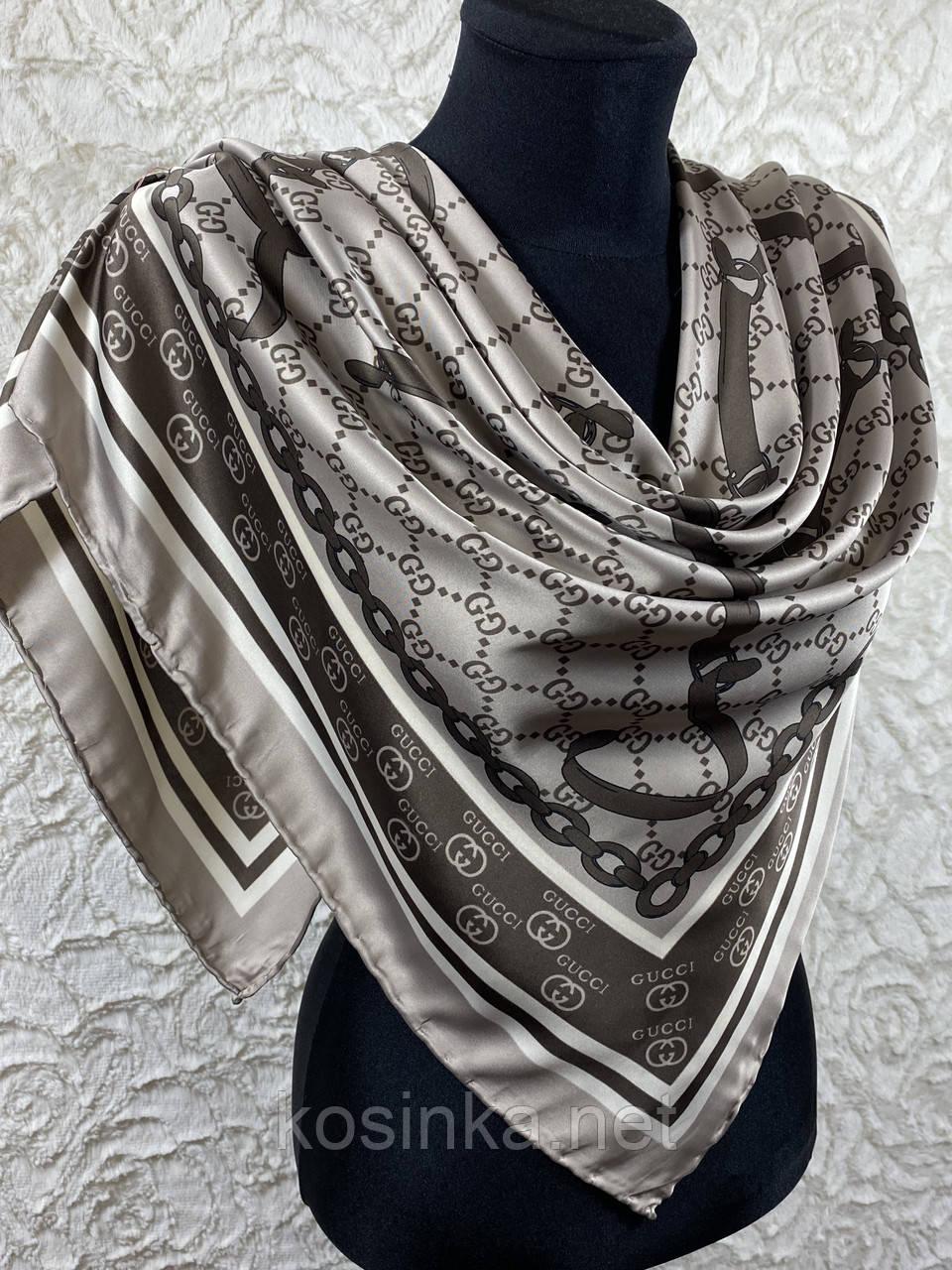 Турецкий брендовый платок Gucci цвет кофе с молоком 90х90 см (цв.1)