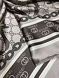 Турецкий брендовый платок Gucci цвет кофе с молоком 90х90 см (цв.1), фото 4