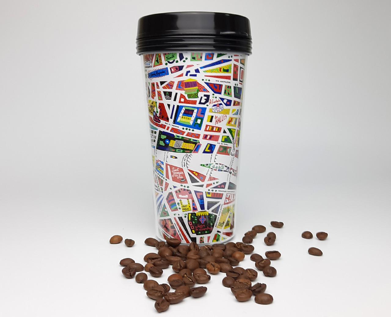 """Стакан для кофе на вынос 450 мл с крышкой  """"Метро в Париж"""" -  дорожный стакан подарок путешественнику"""