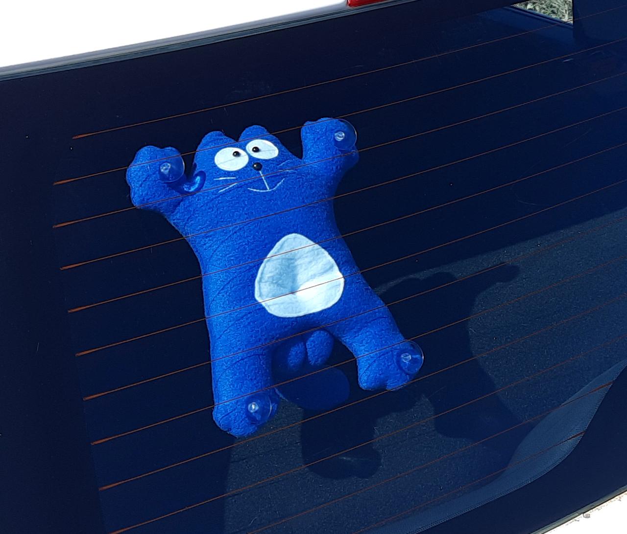 Кот Саймон на присосках синий - Сувенир в машину - Игрушка в машину Кот Саймон - Подарок автомобилисту