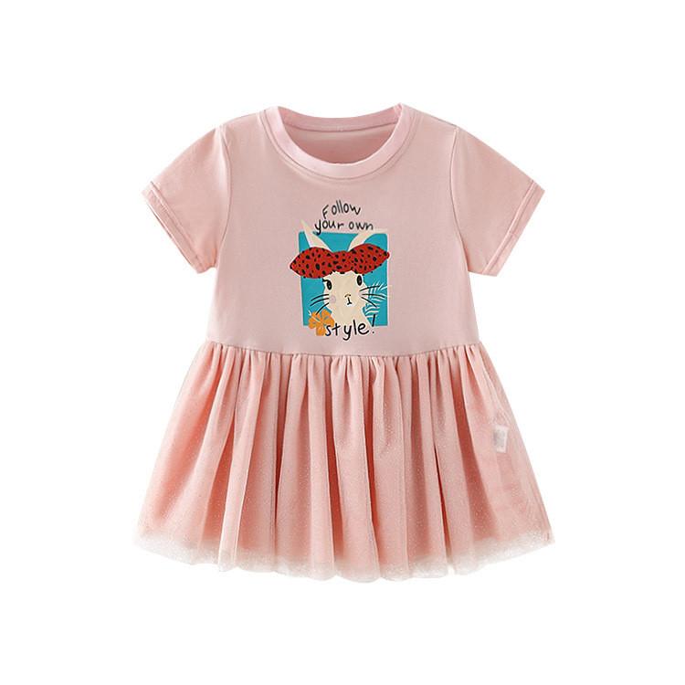 Сукня для дівчинки з коротким рукавом сітчаста спідниця персикове Bunny Style Berni Kids (90)