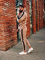 Зимний мужской спортивный костюм на флисе с черными лампасами / Бежевый