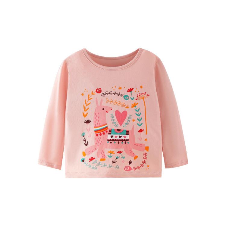 Лонгслив для дівчинки з малюнком лами рожевий Сartoon Berni Kids (100)