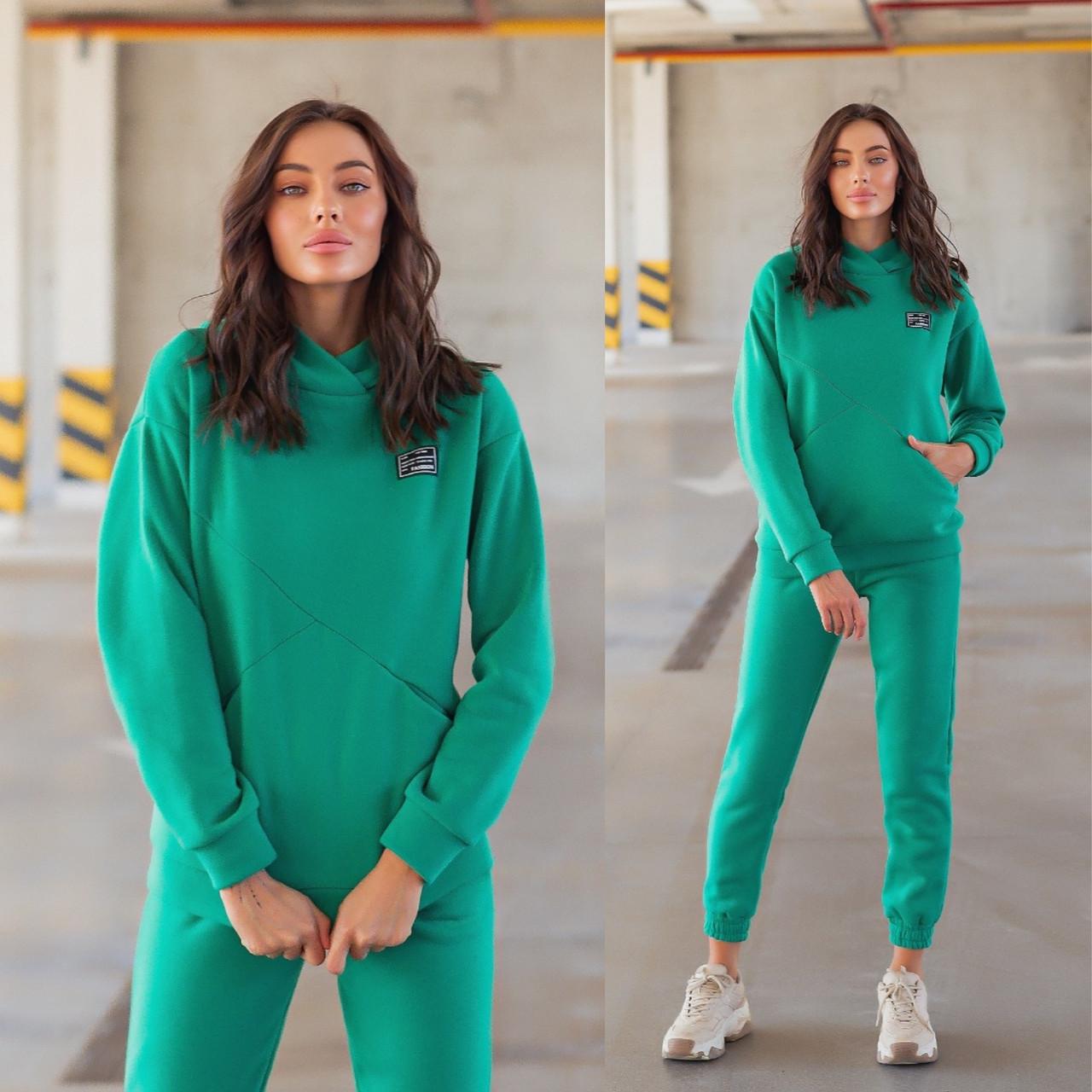 Зелений жіночий теплий спортивний костюм з утепленого трикотажу