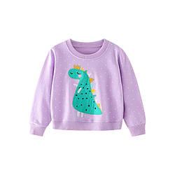 Свитшот для девочки в горох с рисунком динозавра фиолетовый Green Dino Berni Kids (140)