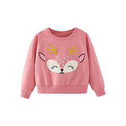Свитшот для девочки с рисунком оленя розовый Golden horns Berni Kids (120)