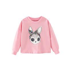 Свитшот для девочки с изображением кролика розовый Rabbit in a scarf Berni Kids (120)