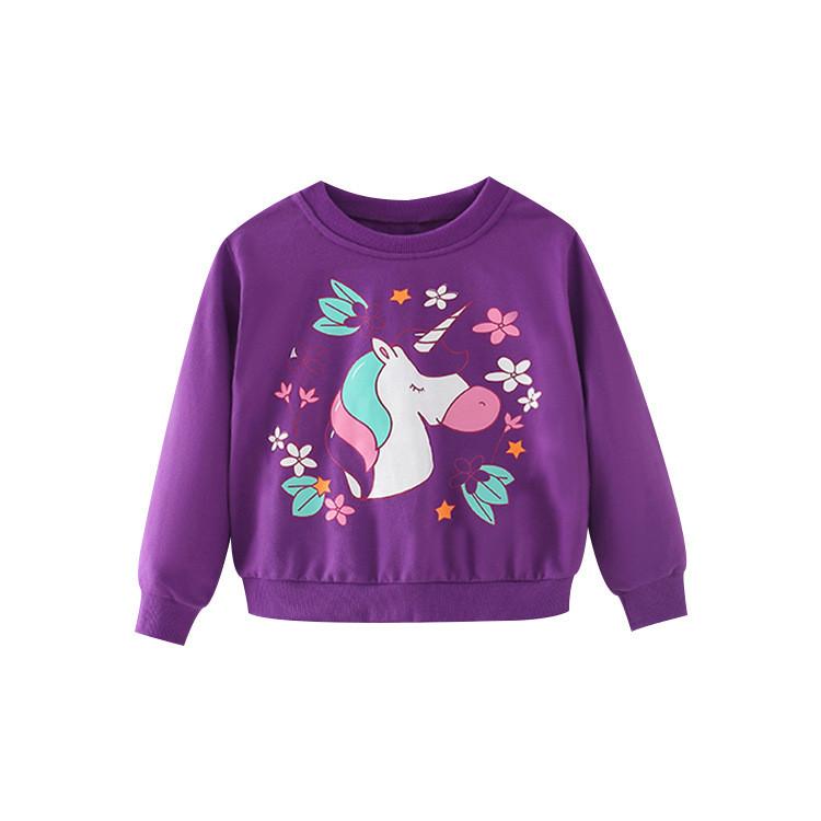 Свитшот для девочки с рисунком единорог фиолетовый Unicorn in flowers Berni Kids (100)
