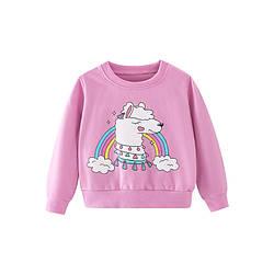 Свитшот для девочки с рисунком лама фиолетовый Lama dreams Berni Kids (110)
