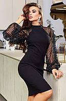 Платье женское нарядное красивое длинный рукав реглан сетка флок, фото 1