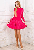 """Трикотажное платье """"Инна"""" с заниженной талией и с расклешенной юбкой (2 цвета)"""