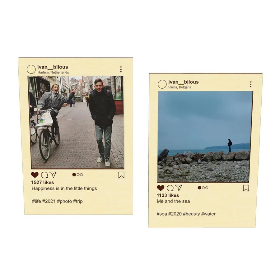 """Дерев'яна рамка для фото """"Instagram"""". Інста табличка листівка з постом з инстаграма"""