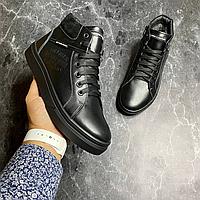 Чёрные кожаные зимние ботинки Tommy Hilfiger   натуральная кожа/натуральная шерсть + термополиуретан