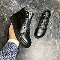 Чёрные кожаные зимние ботинки Tommy Hilfiger | натуральная кожа/натуральная шерсть + термополиуретан, фото 1