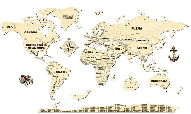 Деревянная карта Мира на стену