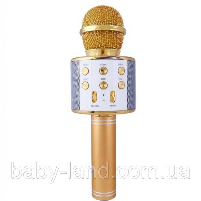 Микрофон для караоке беспроводной ЗОЛОТОЙ (GOLD) арт. 858