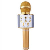 Микрофон для караоке беспроводной ЗОЛОТОЙ (GOLD) арт. 858, фото 1