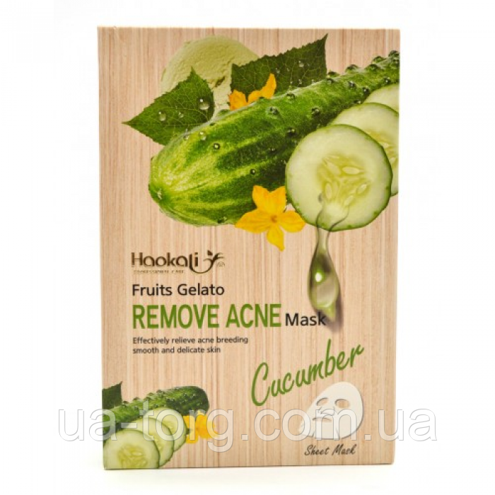 Тканинна маска Wokali Cucumber Fruits Gelato Remove Acne Mask з екстрактом огірка HA-3011 (30мл*10шт)