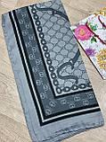 Турецький брендовий хустку Gucci в сірому кольорі 90х90 см (кол.4), фото 5