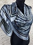 Турецький брендовий хустку Gucci в сірому кольорі 90х90 см (кол.4), фото 2