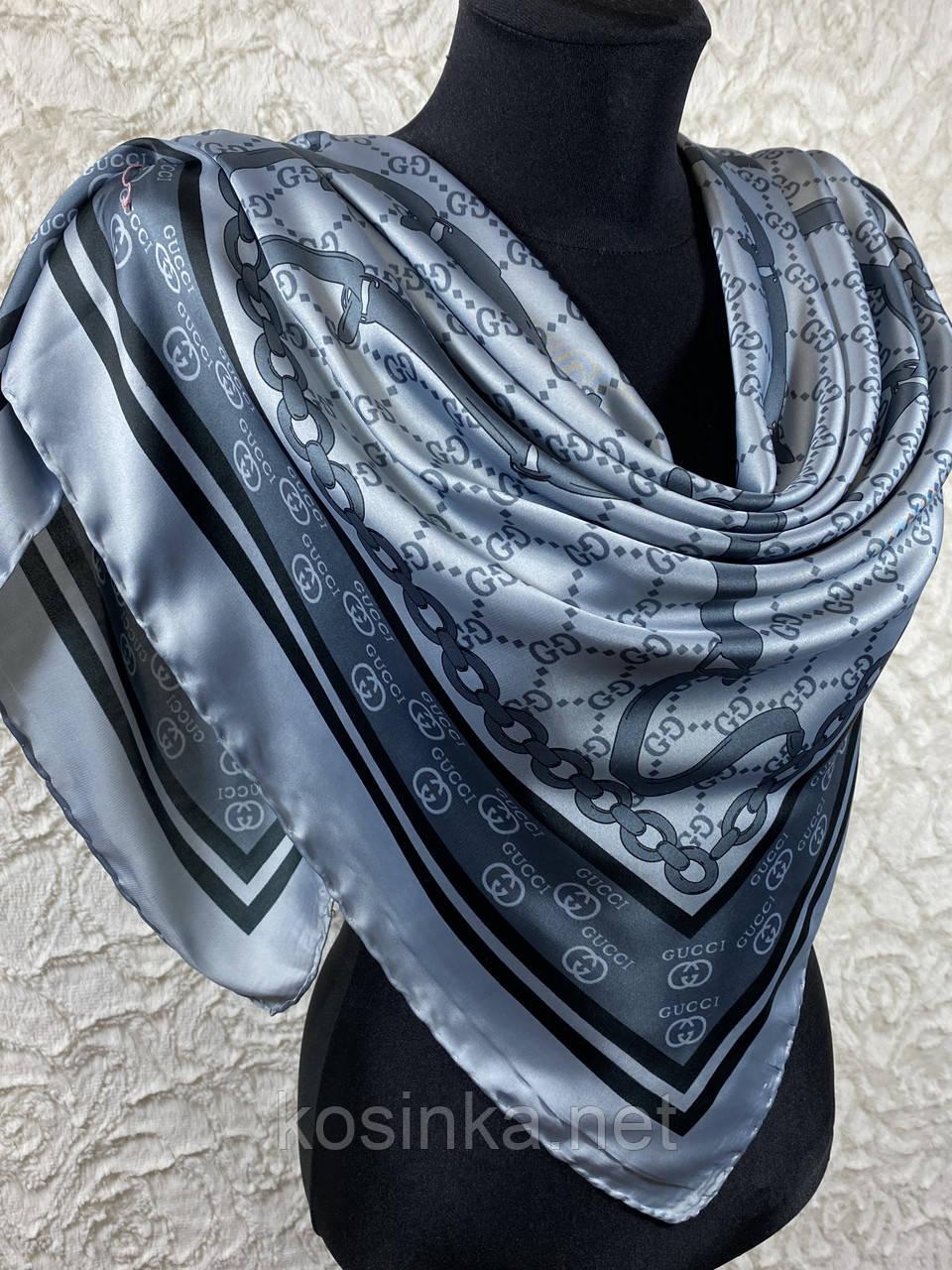 Турецький брендовий хустку Gucci в сірому кольорі 90х90 см (кол.4)