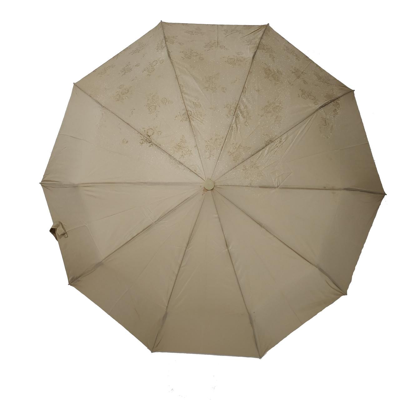 Жіночий парасольку Bellisimo напівавтомат на 10 спиць Бежевий (461-1)