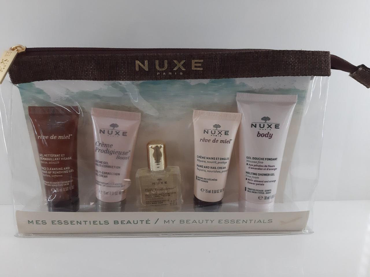 Набір мініатюр Нюкс Nuxe My Travel Set (sh/gel/30ml + f/cr/15ml + oil/10ml + clean/gel/15ml + hand/cr/15ml)