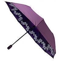 Жіночий складаний парасолька-напівавтомат Flagman з подвійною тканиною з принтом орхідей Фіолетовий (516-3), фото 1