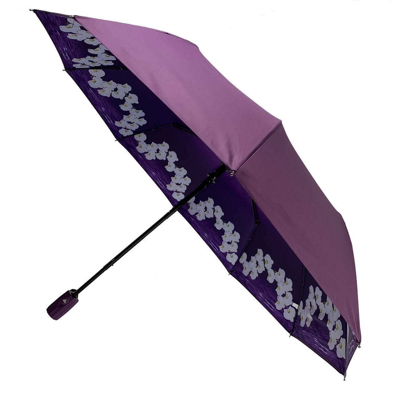 Жіночий складаний парасолька-напівавтомат Flagman з подвійною тканиною з принтом орхідей Фіолетовий (516-3)