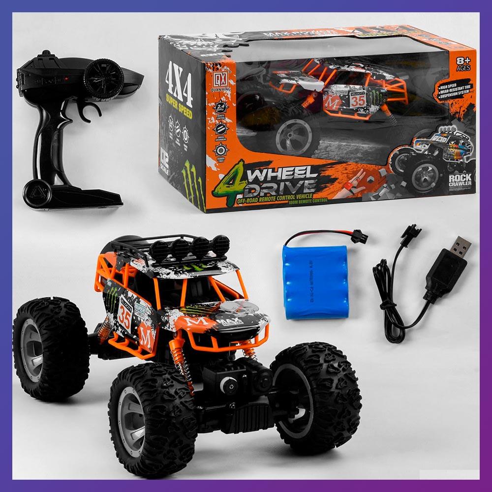 Детская машинка на радиоуправлении Джип QX 3688-35 полный привод 4.8V оранжевая