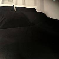 """""""черное однотонное"""" Комплект постельного белья полуторный 150/210 см, нав-ки 70/70, ткань сатин"""