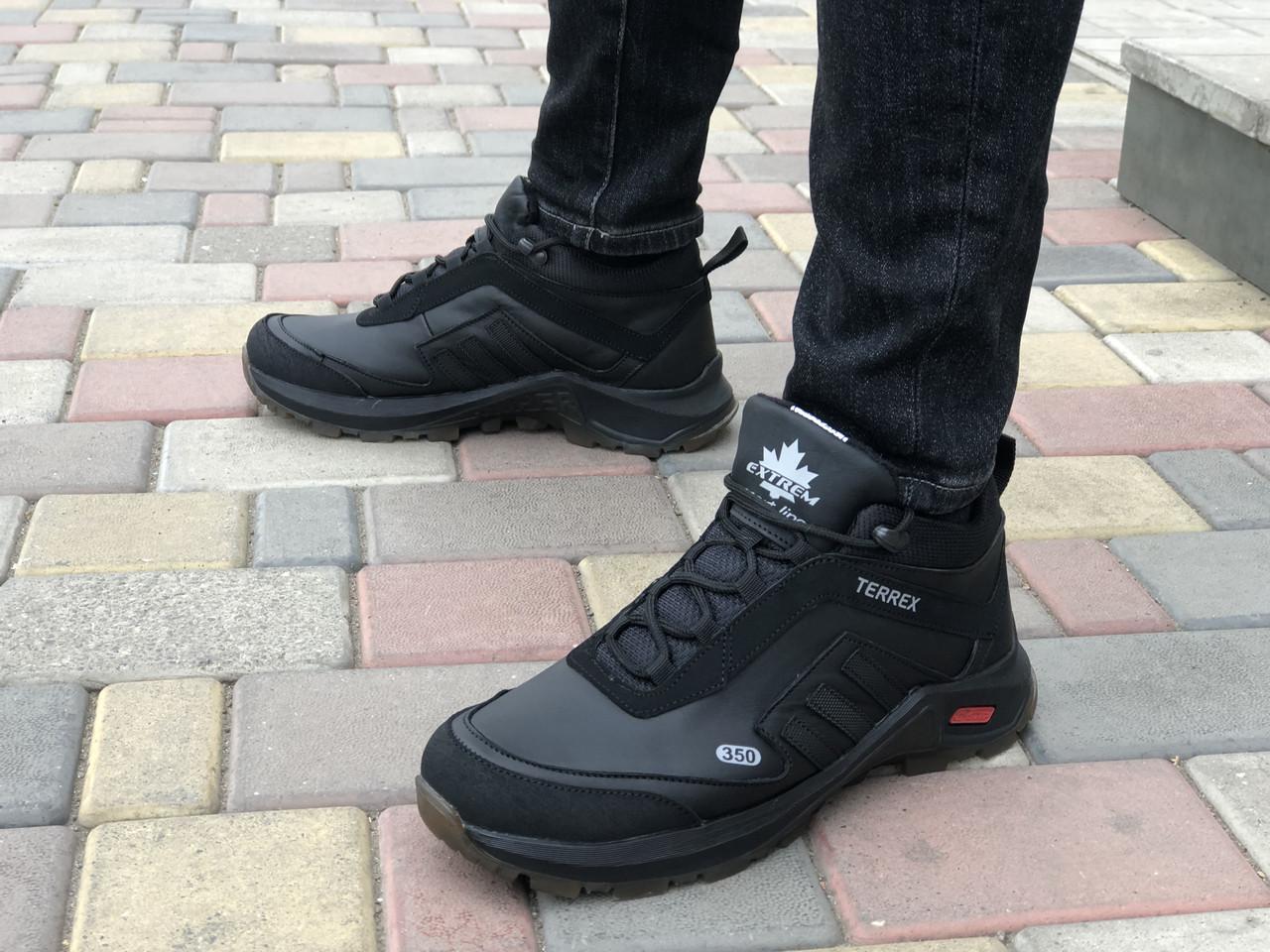 Шкіряні чоловічі кросівки зима Exstrem 1302 чер розміри 40,41,42,43,44,45