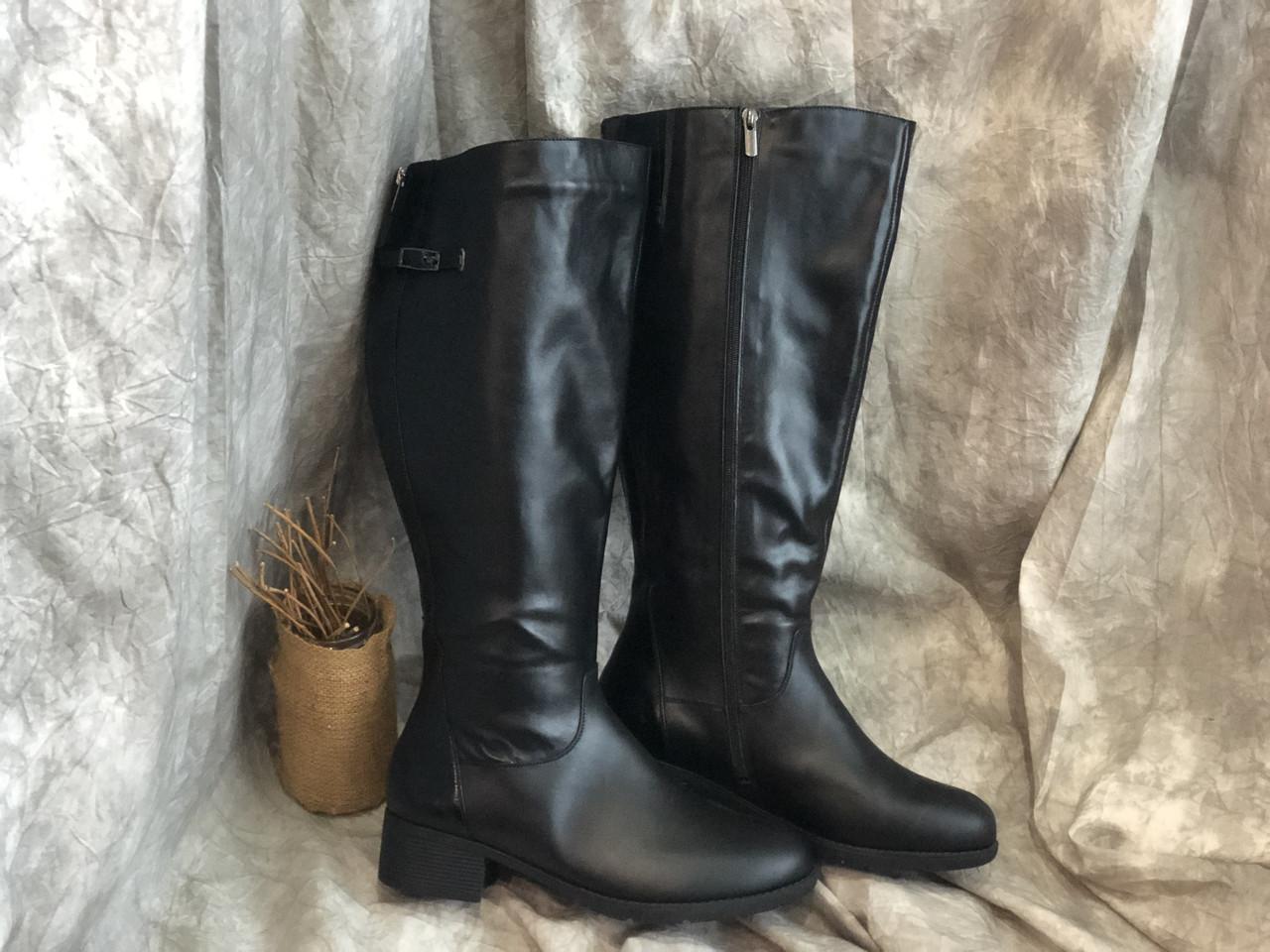 Шкіряні Жіночі чоботи на маленькому підборах Наталі 395 год/до розмір 43