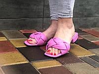 Шкіряні жіночі шльопанці Маріні коси лаванда розмір 42, фото 1