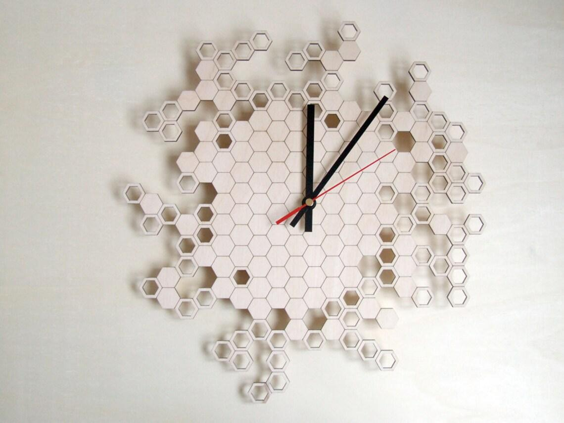 """Годинники настінні декоративні з фанери """"Соти"""". Діаметр 25, 30, 35, 40 чи 45 мм"""