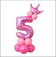 """Шар цифра """"5"""" на стойке из шаров розовый в сердечки с шарами и короной"""