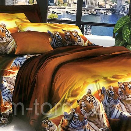 """""""тигри"""" постільна білизна 3D ефект 175/210 см, нав-ки 70/70 см, фото 2"""