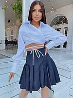 Сорочка жіноча оригінальна укорочена з зав'язками на талії різні кольори Rsa779