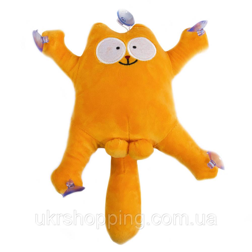 """Кот в машину на присосках """"Саймон Кот"""", Оранжевый, мягкая игрушка в машину кот с яйцами   іграшка кіт (SH)"""