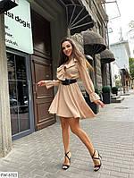 Романтичное короткое платье с юбкой клеш бэби дол с фактурным горохом р: Универсальный арт. 534