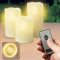 Комплект светодиодных свечей разной высоты с пультом управления, свечи на батарейках, электрические свечи