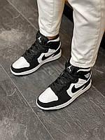 Женские кроссовки Nike Air Jordan High S Black White в стиле Найк Аир Джордан натуральная кожа для девушки