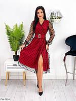 Красивое вечернее платье с расклешенной юбкой за колено миди с разрезом с блестящей сеткой арт. 713