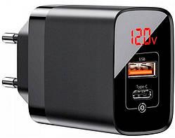 Адаптер сетевой BASEUS CCJMHC-A01 Mirror Lake с дисплеем 18W, черный